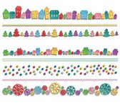 Set of festive colorful elements drawn in a row — Stock Vector