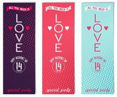 Three Valentine's day flyer for party — Vector de stock