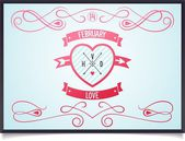 Poster with heart for Valentine's Day — Vettoriale Stock