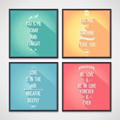 Love quote posters with flat design lettering — Stock Vector