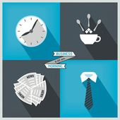 Icon set to start day at the office — Stock Vector