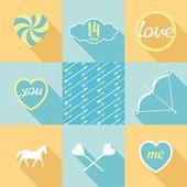 Pop-art set symbol of love — Stock Vector