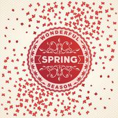 Spring retro label with flowers — Stock Vector