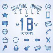 Blue indigo watercolor icons — Stock Vector
