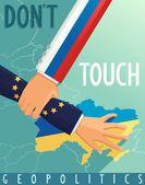 Russia stops scenario Euro Union in Ukraine — Stock Vector