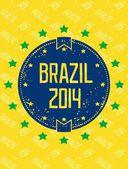 Round grunge label - Brazil 2014 — Stock Vector