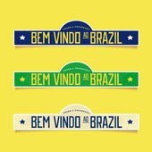 Bright labels - Welcome to Brazil — Stock Vector