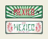 Two grunge car plates Viva Mexico — Stock Vector