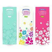Bright flowers summer design — Stock Vector