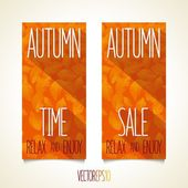 Autumn flat style flyers — Stock Vector