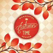 Colorful autumn signboard — Stock Vector