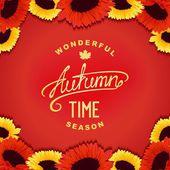 Autumn sunflowers card — Stock Vector