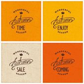 Set of vintage autumn designs — Stock Vector