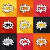 Flat pop art speech bubble - OMG — Stock Vector