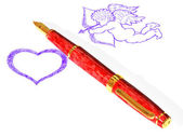 Fountain pen, heart and Cupid — Stock Photo