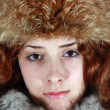 Portrait of girl in fox cap — Stock Photo #1105889