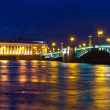Vasilyevsky Island and Palace bridge in night — Stock Photo