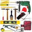 Set of work tools. Isolated over white — Stockfoto
