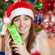Portrait of girl  with christmas presents - Stock Photo