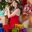 Girl with christmas presents - Stock Photo