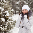 Young woman at wintry park - Stock Photo
