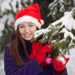 Woman  in christmas hat decorates  spruce - Stock Photo