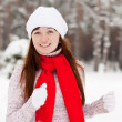 Girl workouts at winter park - Stock Photo