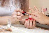 Manicurist working with nails — 图库照片