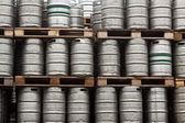 Beer kegs in rows — Stock Photo