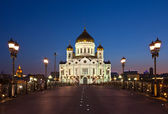 Christ the Savior Cathedral in night, Russia — Stock Photo