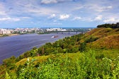 Nizhny Novgorod with Oka river — Stock Photo