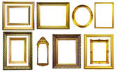 Set of gold picture frames. Isolated over white background — Stock Photo