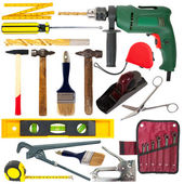 Set of work tools. Isolated over white — Stock Photo