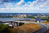 Metro Bridge through Oka River. Russia — Stock Photo