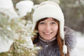 Winter portrait of girl — Stok fotoğraf