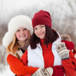Smiling girls in winter — Stock Photo