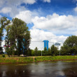 Stock Photo: Shopping centers along river Uvod in Ivanovo