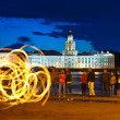 Fire show in night Neva embankment — Stock Photo