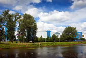 Shopping centers along river Uvod in Ivanovo — Stock Photo