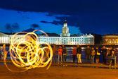 Fire show in night Neva embankment — Stock Photo