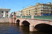 View of St. Petersburg. Anichkov Bridge in summer day — Stock Photo