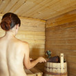 Woman taking  steam bath in sauna — Foto Stock