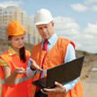 Builders works on the building site — Stock Photo