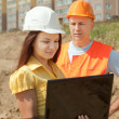 Two builders in hardhat — Stock Photo