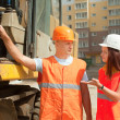 Stock Photo: Builders works at building site