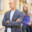Couple after quarrel at street — Stock Photo
