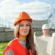 Two workers wearing protective helmet — Stock Photo