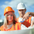 Stock Photo: Portrait of two builders