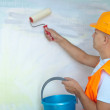 House painters with paint roller - Stok fotoraf