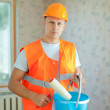 House painters with paint roller - Stock fotografie